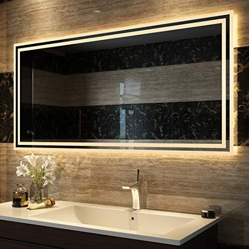 Duschdeluxe Badspiegel Lichtspiegel 120 x 60 cm LED Spiegel Wandspiegel nergieeffizienzklasse A++ mit Beleuchtung Warmweissen Lichtspiegel IP44 energiesparend