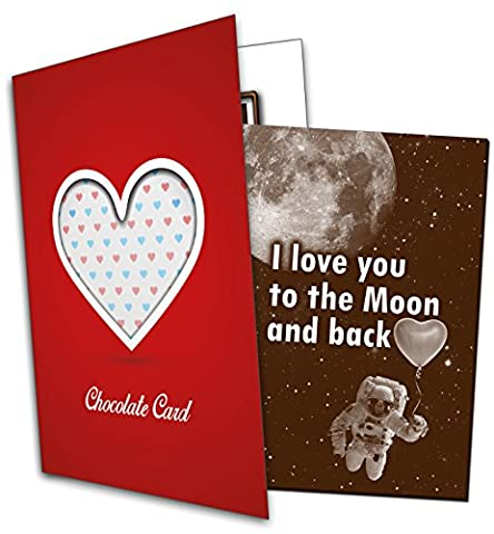 I love you to the Moon and back - Chocolate Greeting Card / Sweet Gift