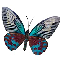 LARGE METAL COLOURFUL BUTTERFLY GARDEN DECORATION WALL ART 26cm x 35cm by .
