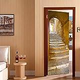 Sticker Porte 77x200cm Château de Pierre Effet 3D Autocollant Trompe L'Œil pour Porte Décoration PVC Auto-Adhésif Amovible Mur Salon Cuisine Chambre Salle de Bain Papier Peint