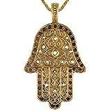 Chic-Net Messing Anhänger Hand der Fatima Auge Kreise gold Kette nickelfrei Tribal antik Schmuck Hamsa Khamsa