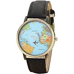 Mini World Unisex Watch World Map with Moveable Aeroplane for a Second Hand, Analogue, Quartz, Bronze, Black
