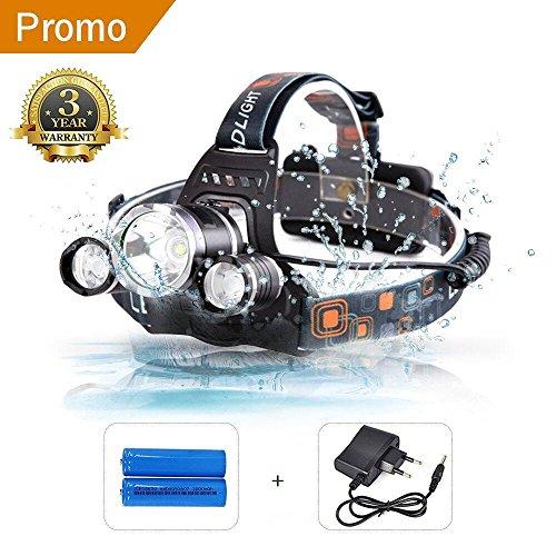 beseloa Torcia Frontale Lampada Frontale LED 3 Light 4 modalità 8000 Lumen Luce Frontale LED con Batteria Ricaricabile
