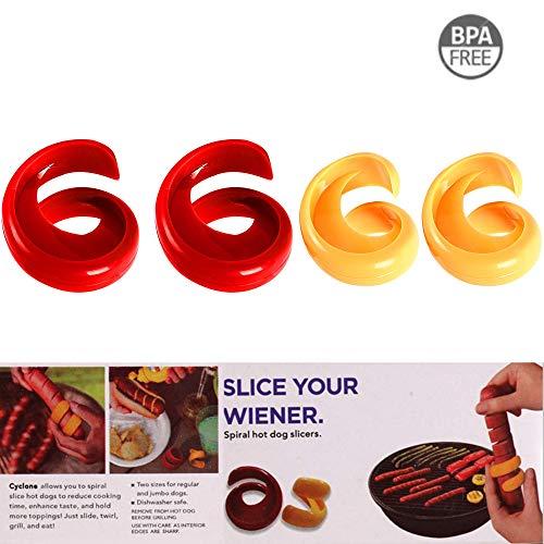 Mein HERZ 2 pcs originelles Grillzubehör zum einschneiden für Grill- und Bratwürste Wurst Cutter Küche Tools Spirale Hot Dog Schere Home DIY Wurst Schneide Gadget - Grill-gadgets