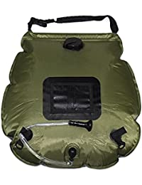 Escomdp Portable Outdoor 20L Solar Shower Bag For Camping Hiking Climbing (Army Green)