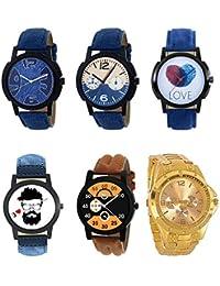 NEUTRON Contemporary 3D Design Love Beard Style Black Blue And Brown Color 6 Watch Combo (B9-B10-B11-B12-B13-B71...