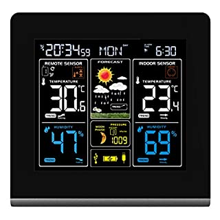 Wall-mountable Wireless Weather Station with Colour High Definition Display, USB Charging Port, Alarms, Weather Forecasting / Temperature Display and Alerts Plus includes 2 outdoor sensors. – TG672 Weather Station Clock from Think Gizmos