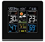 Think Gizmos Drahtlose Wetterstation zur Wandmontage mit High-Definition Farbdisplay, USB-Anschluss, Wettervorhersage, Temperaturanzeige, Alarmen und mit 2 Outdoor-Sensoren (Square HD)