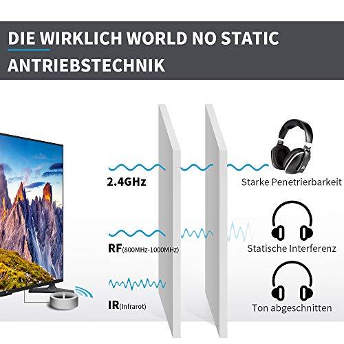 Artiste ADH300 Wireless TV Kopfhörer, 2.4GHz UHF/RF Over-Ear Digital Stereo Kopfhörer für TV, 100ft Distanz Sender Wiederaufladbare Ladestation - 2