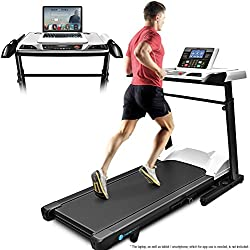 Deskfit Innovative 2-in-1 Professional Treadmill Desk with Height-Adjustable Workspace DFT500, App Compatible Bluetooth Console, Foldable Walking and Standing Treadmill Workstation for Home & Office