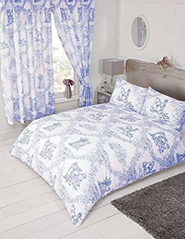 Lit king size Toile de Jouy Bleu, Housse de couette Parure de lit, par My Home, Damas Country Motif floral traditionnel