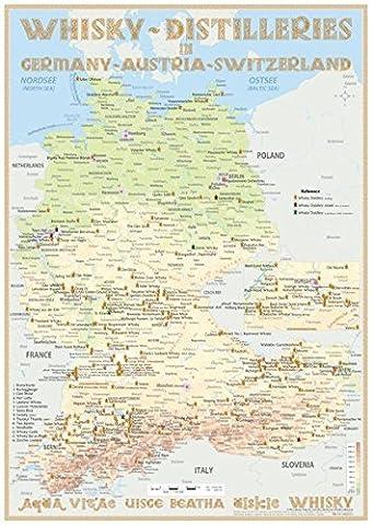 Whisky Distilleries Germany, Austria and Switzerland - Poster 42x60cm: Landkarte