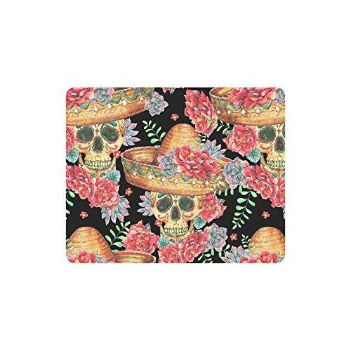 Luancrop Aquarell-Zuckerschädel mit mexikanischem Hut und Blumen-Blumenrechteck-Rutschfester Gummimausunterlage Spiel Mousepad Matte für Frauen-Mann-Angestellt-Chef-Arbeit mit Entwürfen