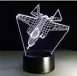 Luce visiva, Amroe Cool 3D Luce notturna per aeromobili RC Regalo aereo da guerra aereo Lampada da tavolo da combattimento Aereo a reazione Pulsante visivo per la decorazione della camera da letto