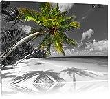 riesige Palem über Strand schwarz/weiß Format: 100x70 auf Leinwand, XXL riesige Bilder fertig gerahmt mit Keilrahmen, Kunstdruck auf Wandbild mit Rahmen, günstiger als Gemälde oder Ölbild, kein Poster oder Plakat