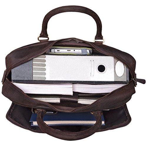 STILORD 'Aaron' Umhängetasche Leder 15,6 Zoll Laptoptasche Aktentasche Bürotasche Unitasche mit Schultergurt Business Vintage, Farbe:cognac - hellbraun matt - dunkelbraun