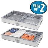 mDesign Unterbettkommode für Kleidung und Schuhe – Aufbewahrungsbox mit 2 Fächern – platzsparende Kleideraufbewahrung – grau - 2er Set