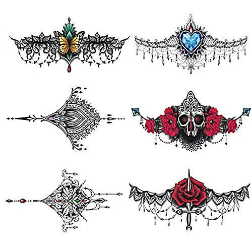 Pinkiou Temporäre Tattoos für Frauen Sexy Body Sticker Halskette Design für Summer Beach Pool (6 Blatt)