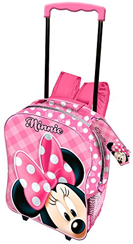 Karactermania Minni Mouse Joyful Trolley Zaino Basic + Astuccio Portatutto, 40 cm, Rosa