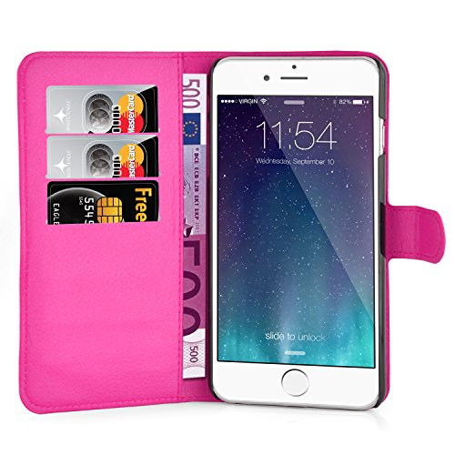 Cadorabo - Etui Housse pour Apple iPhone 6 PLUS - Coque Case Cover Bumper Portefeuille (avec stand horizontale et fentes pour cartes) en ROSE BONBON ROSE BONBON