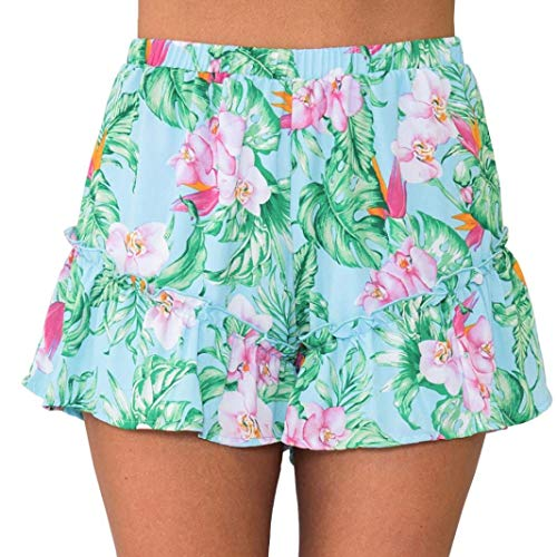 Damen Shorts Sommer Casual Print Strand Kurze Blumenhose Breite Festliche Kleidung Badehose Sommer Frauen Bein Mode Badeshorts Strand Hosen Hot Pants (S ~ Blau) (Color : Blau, Size : M)