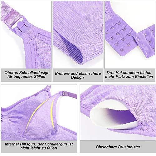 Rovtop 3 Stück Still-BHS für Frauen Nahtloser Schwangerschafts-BH Abnehmbarer gepolsterter Schlaf Komfortabel zum Stillen mit kostenlosen Stillkissen und BH-Extendern (Größe M) - 3