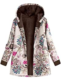 Kairuun Mujer Invierno Impreso Abrigo con Capucha De Manga Larga Vintage  Cremallera Abrigos con Bolsillos 49fddc1f9271