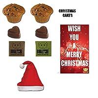 BOGATCHI Xmas Premium Gift Set, Xmas Dark Chocolates, 2pcs, Xmas Plum Cake (2x40g) + Free Merry Xmas Card + Free Santa Cap