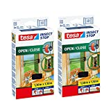 2 x tesa Insect Stop Open - Close Fliegengitter, 2 x 1,30m x 1,50m, schwarz