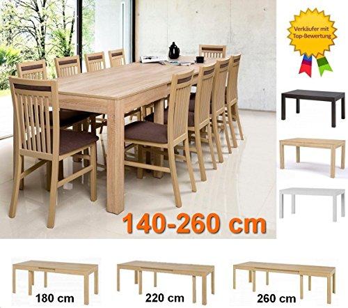 furniture24_eu Stoletto Esstisch, Esszimmertisch, Küchentisch ausziehbar 140-260 cm (Sonoma Eiche)