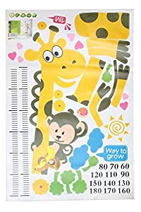 Naughty Monkey and Yellow Giraffe wall sticker for kid's bedroom cartoon animals Height Chart (60cm-180cm) Nursery Wall Decal Decor Removable wallpaper mural