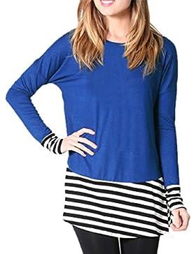 FEITONG Moda De las mujeres Raya Pull-over Manga larga Camiseta Blusa Tops Camiseta