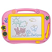 ikidsislands IKS88P [Travel Size] Small Colorful Magnetic Drawing Board for Kids/ Mini Color Magna Doodle for Toddlers/ Erasable Imaginarium Educational Toys for Babies, Boys with Pen, Stamps (Pink)