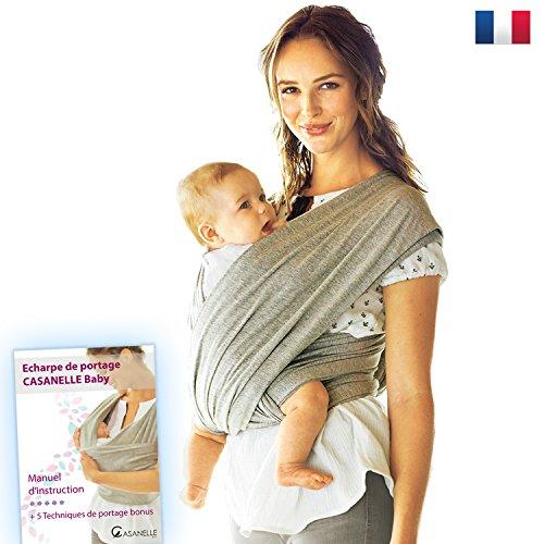Echarpe de portage bebe | porte bebe gris léger Offert livre ebook tutos : 5 techniques de portages...