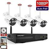Système de Sécurité Caméra sans Fil, SMONET NVR 1080P 8 CH Enregistreur 4 * 1080P + 2 to Disque Dur Kit Video Surveillance Interieur/Exterieur l'App Accès à Distance