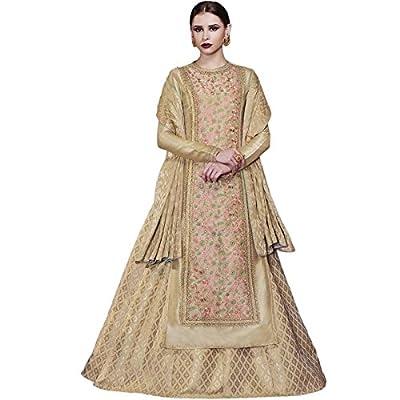 Impressed Collection Beige Tussar Silk Party Wear Salwar Kameez