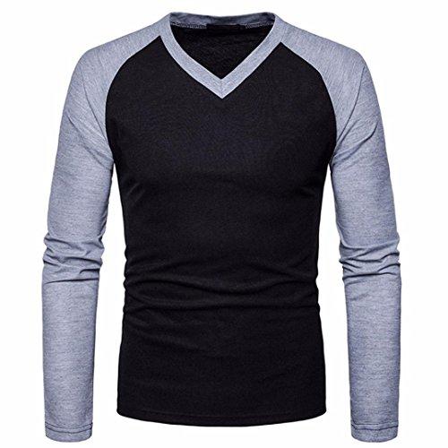 Elecenty Herren Langarmshirt Bluse Lange Drucken V Kragen Slim Fit T-Shirt Männer Pullover Sweatshirts Streetwear Hemden Tops Kompressionsshirt (M, Schwarz)