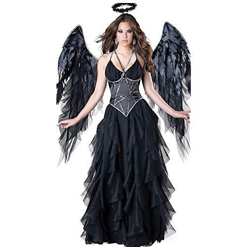 Angel Mann Black Kostüm - YyZCL Halloween Kleidung Dark Sexy Angel Kostüm Black Angel Kostüm Halloween Party Party Stage Kostüm Für Halloween-Partys Rollenspiele (Farbe : Schwarz, Größe : Einheitsgröße)