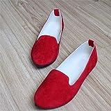 QIMITE Espadrilles,Dimensioni Grandi Donne Appartamenti Candy Colore Calzature Donna Mocassini Moda Estate Dolce Piatto Scarpe Casual Donna Zapatos Mujer Dimensione Plus 35-43 Rosso,Immagine,41