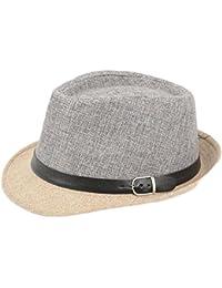 Leisial Hombre Sombrero del Jazz Paja de Lino Sombrero Estilo Británico Verano Playa Sombrero Panamá Para Mujer Unisex,Gris