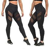 TWIFER Frauen hohe Taille Sexy Skinny Leggings von Patchwork Mesh Push Up Yoga Hosen (Schwarz, S)