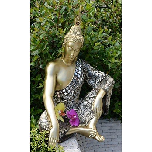 Figura de Buda sentado en resina y tela – Color dorado (32x22x48 cm)