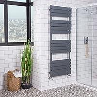 Sèche-serviettes radiateur chauffage central design Juva 932 W 1600 x 600mm - Plat - Gris anthracite - Salle de bains