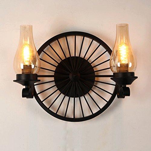 Amerikanische kreative Räder Wandleuchte Retro Industrielle Eisen Bars Gang Wohnzimmer Lampe (Size : Double head) (Jason Steuer)
