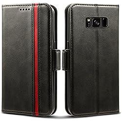 """Rssviss Coque Samsung Galaxy S8, Housse en Cuir pour Samsung S8 Portefeuille à Rabat[4 emplacements pour Cartes et Monnaie] avec [Fermeture magnétique] Galaxy S8 Coque Porte-Cartes 5,8"""" Noir"""