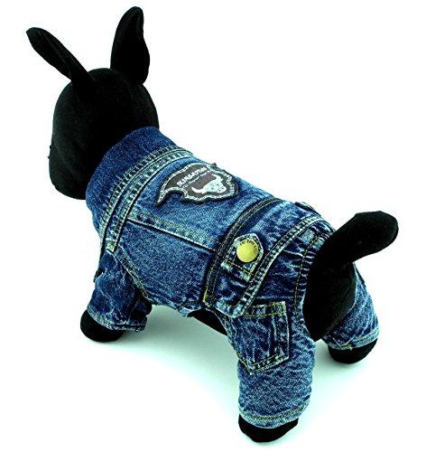 zunea Denim Warm Fleece gepolstert mit Kapuze Winter Overall Coat Overalls Hunde Pet Schneeanzug Puppy Jacken Chihuahua Kleidung Bekleidung, für kleine Hunde Katze Boy