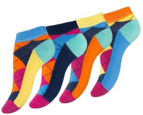 8 Paar knallig bunte Damen Karo Sneaker