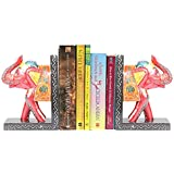 APKAMART Handcrafted Elephant Bookend - Set of 2 - Handicraft Book Holders cum Decoratives for Shelves, Table Decor, Home Decor and Gifts