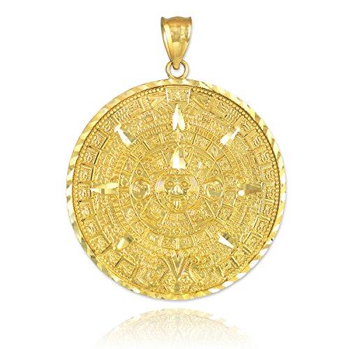 Kleine Schätze - 14 Karat Gold Aztec Maya Son Calendar | Gold Aztec | Gold Azteken-Kalender- | 10 KaratT Aztec Gold- | 14 KaratT Gold-Aztec Anhänger Halskette (Kommt mit einem 45 cm Kette) (Diamant-halskette 1 2 Karat)