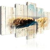 murando - Bilder 225x112 cm - Vlies Leinwandbild - 5 Teilig - Kunstdruck - Modern - Wandbilder XXL - Wanddekoration - Design - Wand Bild - Holz Strand Landschaft Natur Meer c-C-0029-b-o